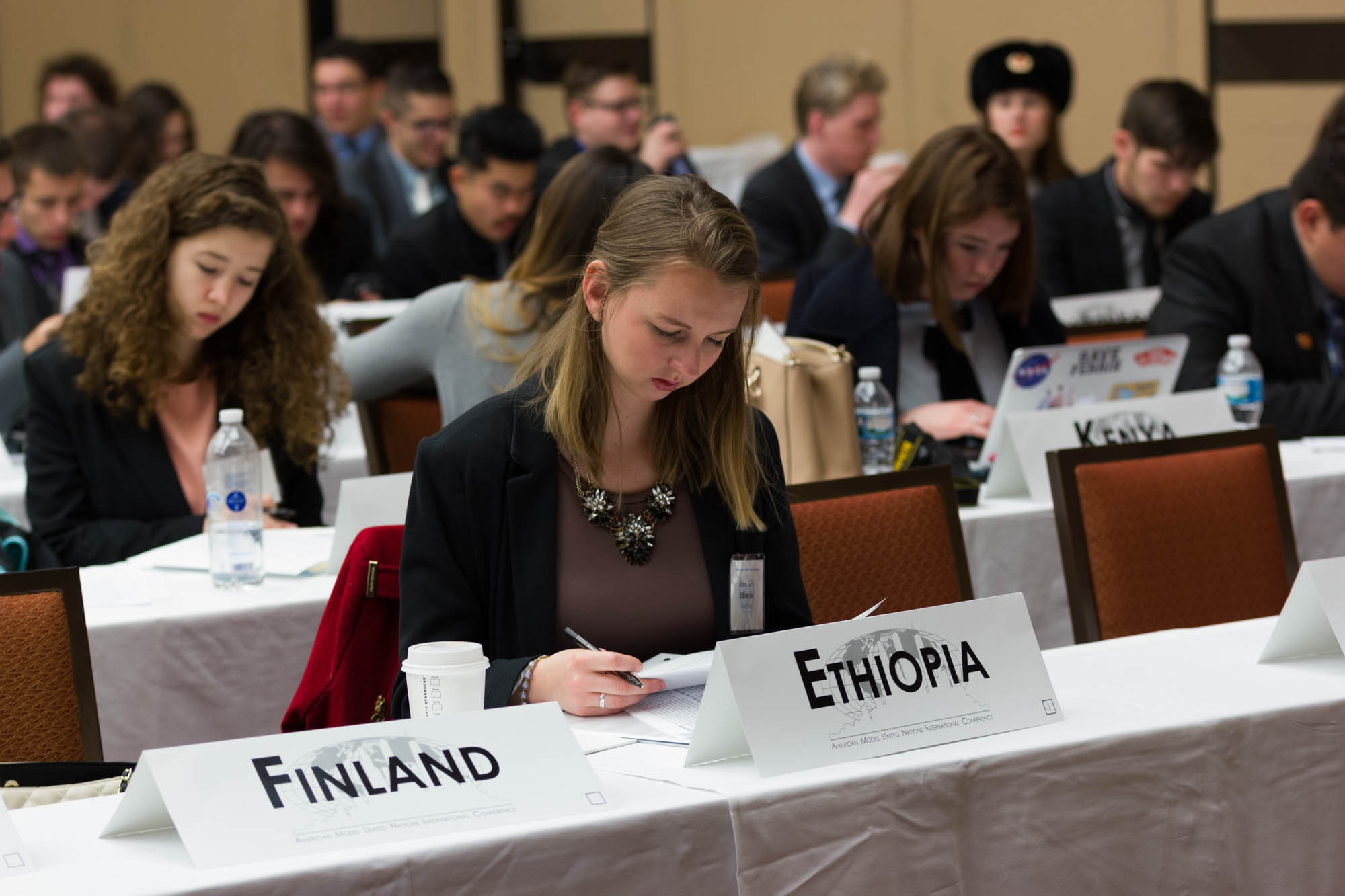 Image of student serving as Model UN representative.