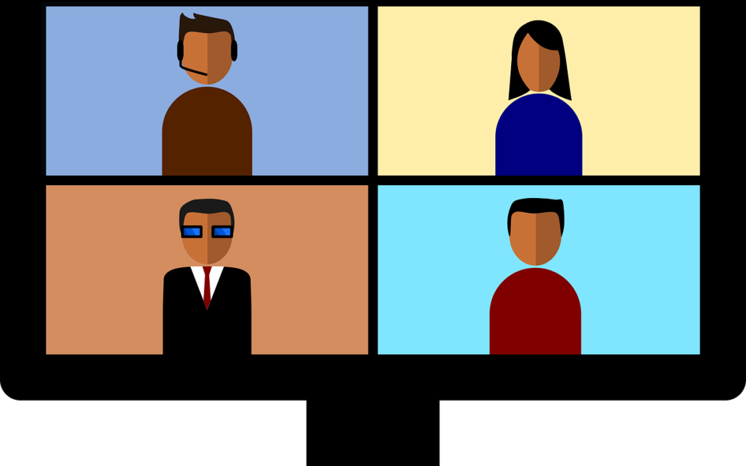 cartoon image of four people on a video conference